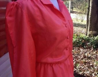 Vintage Dress 1970s 1980s, Long Sleeve Vintage Dress, Mad Men Dress, Orange Dress