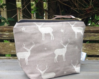 Stag linen storage zip bag cosmetic make up toiletries bag
