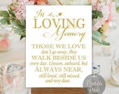 In Loving Memory In Honor Remembrance Gold Printable Wedding Sign Memory Table Instant Download (#MEM2G)