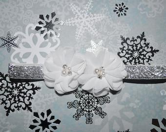 Girls Holiday Headband, Toddler Holiday Headband, White Christmas Headband,Infant Christmas Headband,White Holiday Headband