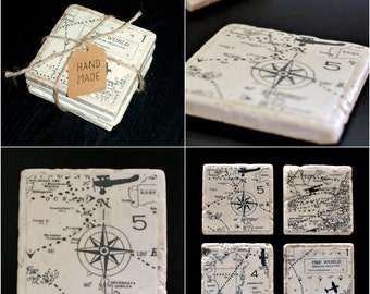 World Map Travertine Coasters