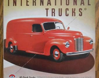 A34 Vintage 1941 International Truck panel van Retro 1940s advertising Life magazine ad mechanic gift gas station decor red van trucker gift