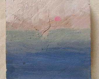 Contemporary abstract miniature painting, misty landscape, grey sunset, small abstract painting