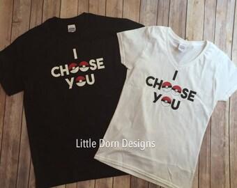 I choose you adult size shirts SET couple Poke shirts black and white