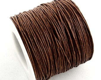 30ft Coffee Brown Wax Cotton Cord Bracelet Necklace Cord 1mm (No.299)