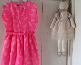 Girls Musk Pink Feather print Dress.Size 3 to 5.