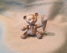 1986 Miniature Teddy Bear Double Scoop Ice Cream Cone Pewter Spoontiques Figurine. Fun Whimsical Animal Figurine. Adorable Vintage Gift