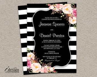 Couples Shower Invitation | Printable Wedding Shower Invites | Floral Invitations | Elegant Black And White Stripe Watercolor Flowers Invite