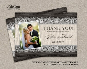 Rustic Wedding Photo Thank You Cards, Printable Wedding Thank You Card With Burlap And Lace, DIY Thank You Cards