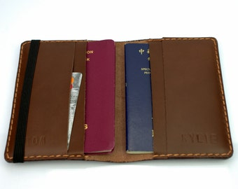 Passport Wallet Leather Passport Holder, Passport Cover Card Slots, Leather Travel Wallet for Treveler, XL Passport Sleeve for 2 Passports