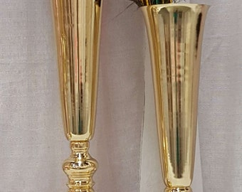 Gold  Metal Trumpet Vases Polished Tall Wedding Centerpieces Vases French Gold  20 inches/ 24 inches/ 32 inches