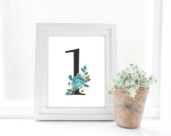 Table numbers, wedding, floral/ wedding sign/ wedding table/ wedding decoration/ wedding table number, blue floral