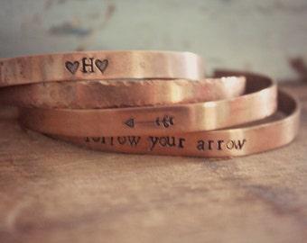 Set of Copper Cuff Bracelets, Personalized Cuff Bracelet, Follow Your Arrow Cuff Bracelet, Copper Bracelet, Hammered Copper Rustic Cuff