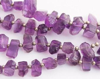 "natural amethyst polished nuggets, 14"" strand, purple"