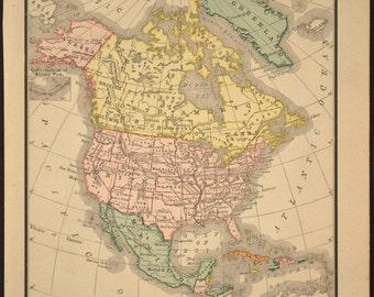 Map North America Map Antique Original Small Late 1800s
