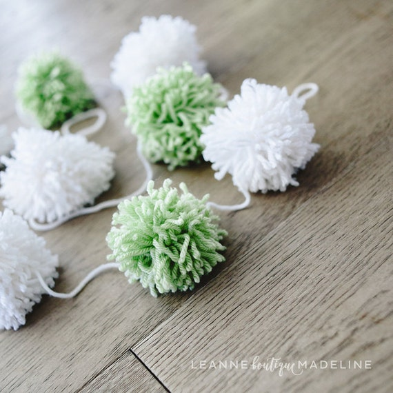 green, white : yarn pom pom garland