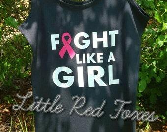 fight like a girl singlet top  - breast cancer awarness shirt - pink ribbon shirt
