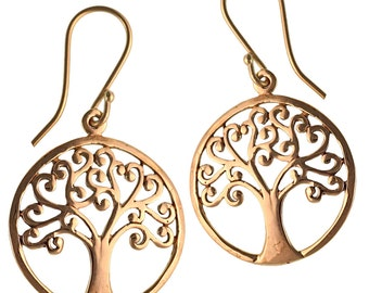 Earrings branched spirally around the tree of life brass brass antique golden tribal earrings