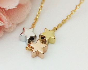 361. Gold, Pink, Silver color Trio Star with Gold plated chain Necklace, Cute , Simple mini 3 star, trio star  Necklace - Choose your Length