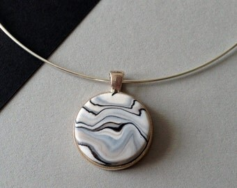 Handmade Marble Clay Pendant Necklace with Silver Plated Neckwire