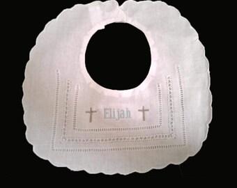 Baptism bib,christening bib,boy baptism bib,embroidered baptism bib,boy christening bib,personalized baptism bib,personalized chrisening bib