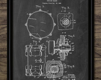 Vintage Drum Kit Patent Print - 1964 Drum Illustration - Drum Kit Equipment Design - Single Print #631 - INSTANT DOWNLOAD
