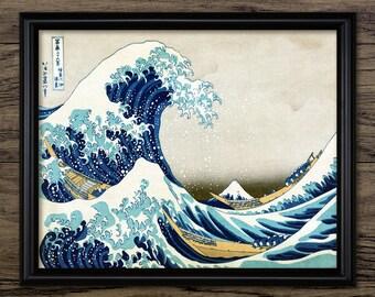 Vintage Great Wave Off Kanagawa Print - Japanese Woodblock Art - Japanese Wall Art - Oriental Decor - Single Print #714 - INSTANT DOWNLOAD