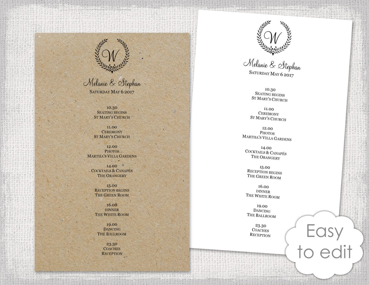 Wedding itinerary – Wedding Agenda Template