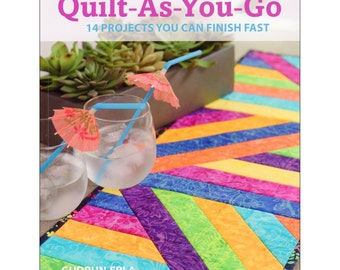 Book - Learn to Quilt-As-You-Go by Gudrun Urla - Quilt book Sewing book Modern quilting Table runners
