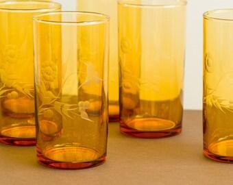 Set of 6 vintage amber coloured etched floral drinking glasses