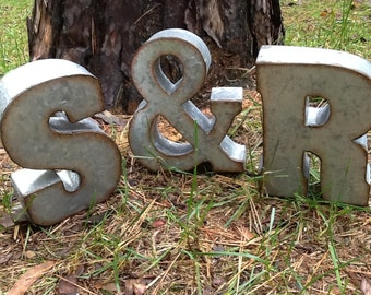 Set of 3 Letters / Industrial Letters and Ampersand / Rustic Metal Initials