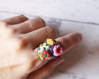 Handmade Three Flowers Embroidery Ring Vintage Style Adjustable Ring
