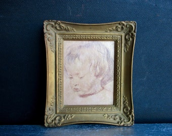 Vintage 1960s Portrait Of His Son Nicholas By Peter Paul Rubens / Framed Print / Royale Academie Collection / Precious Miniatures / Art