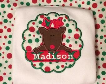 Scallop Reindeer Applique Shirt