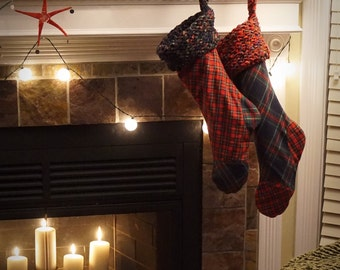 MADE TO ORDER - Plaid Flannel Christmas Stocking with Knit Flannel Cuff and Golden Crushed Velvet Interior - Red Body, Navy Accents
