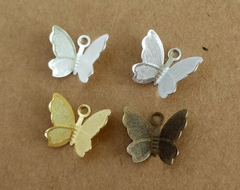 20pcs 13x11mm Small  Lovely brass Butterfly Filigree ,Antique bronze Butterfly Filigree charm
