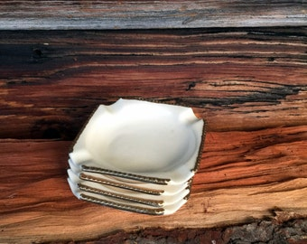 Vintage, Small Ashtrays, Set of (4),  Square, Vintage Home Decor, Patio Ashtrays, Collectible Ashtray