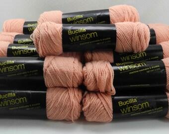Bucilla Winsom Acrylic Yarn - 20 Skeins Peach #266 All Same Dye Lot #20064-301