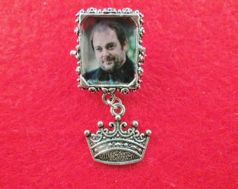 Supernatural Crowley picture with charm pin brooch/lapel pin.