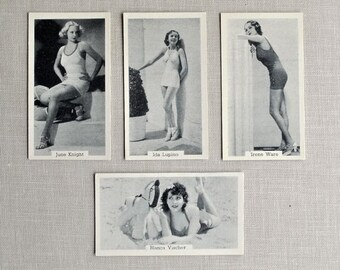 4 Vintage 'Bathing Belles' Pin-Ups, Risque Hollywood Starlet Tobacco Cards, Murray Son & Co., 1939