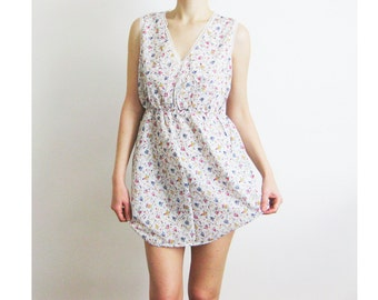 80s Floral Cotton Nightie Small