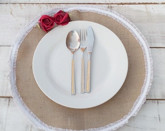 Burlap Placemat - Round Placemat - Plate Charger - Burlap and Lace Placemat - Wedding Centerpiece - Table Decor - Set of 20