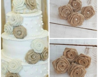 Natural Burlap Roses - Burlap Flowers - Burlap Wedding Flowers - Rustic Wedding Decoration - Cake Toppers - Flower Accessory - Set of 20