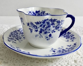 Vintage Royal York China Tea Cup & Saucer Petite Blue Dainty