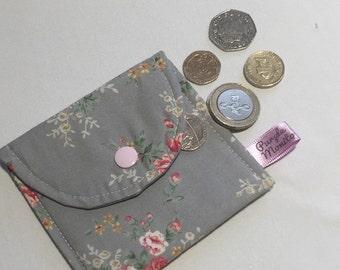 Grey floral coin purse