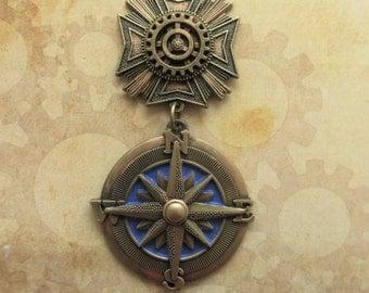 "Steampunk ""Royal Explorer""  Brass Compass Chest Medal Pin"