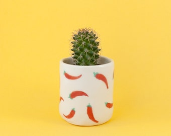 Selma - Chilli patterned porcelain planter and tea cup. Handmade homewares