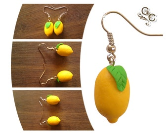 Lemons Earrings - Dangle Earrings - Gift for Her - Valentine's day