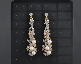 Wedding earring vintage style Bridal earring Pearl Bridesmaid earring Wedding jewelry set Bridal jewelry set Wedding pearl earring bridal