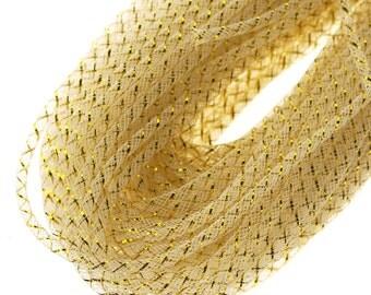 Mesh Tubing Deco Flex Gold Foil, 4mm, 50 Yards